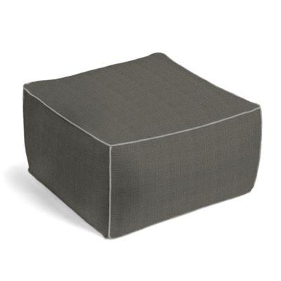 Charcoal Gray Linen Pouf