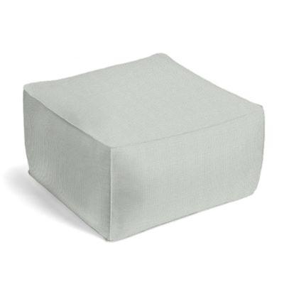Pale Gray Slubby Linen Pouf