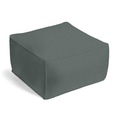 Charcoal Slubby Linen Pouf