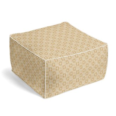Beige Square Lattice Pouf