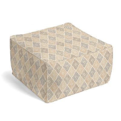 Beige Diamond Block Print Pouf