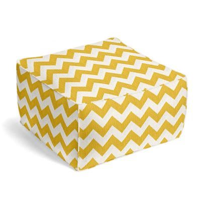 Bright Yellow Chevron Pouf