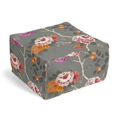 Painterly Pink & Gray Floral Pouf
