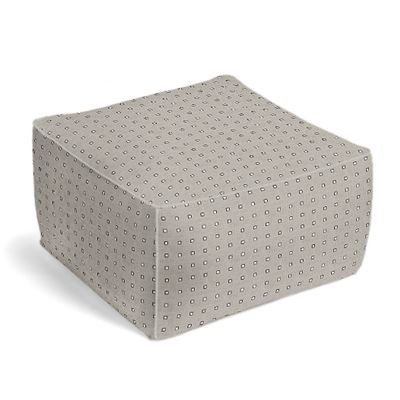 Silver Studded Taupe Pouf