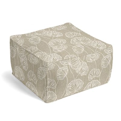 Beige Fan Leaf Pouf