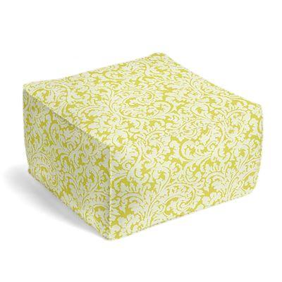 Lemon Yellow Brocade Pouf, Square