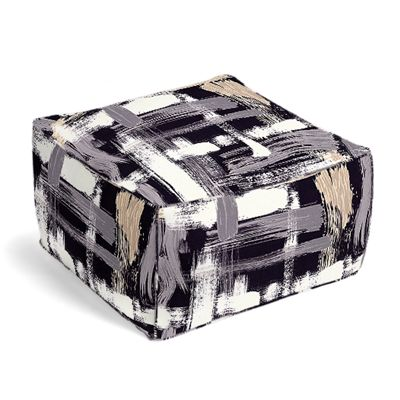 Black & White Brushstrokes Pouf