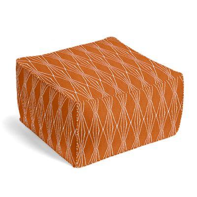 Orange and White Diamond Pouf, Square