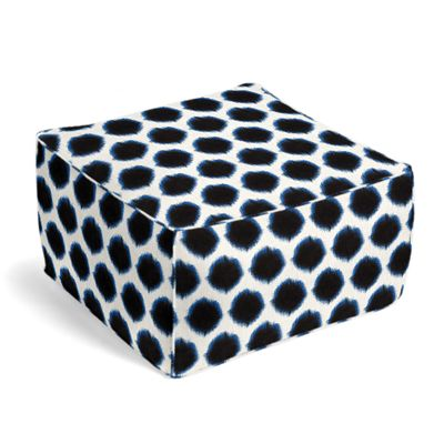 Black & Blue Dot Pouf