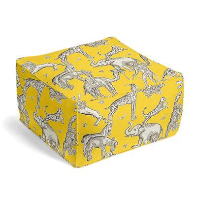 Yellow & Gray Zoo Animal Pouf