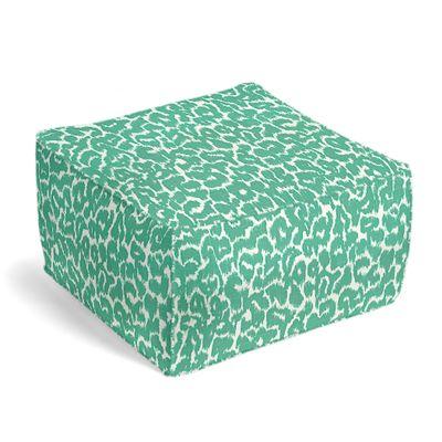 Bright Green Leopard Print Pouf