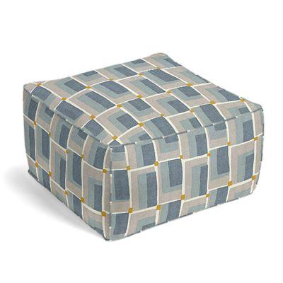 Blue & Gray Geometric Pouf