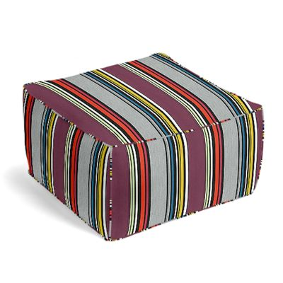 Purple Multicolor Striped Pouf