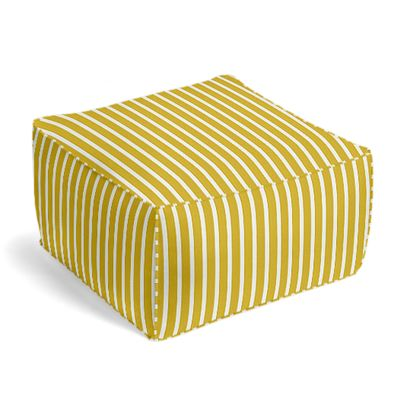 Bright Yellow Thin Stripe Pouf