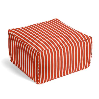 Flame Red Thin Stripe Pouf