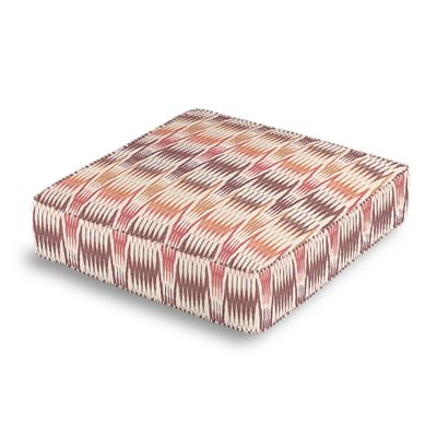 Orange & Pink Flame Stitch Box Floor Pillow