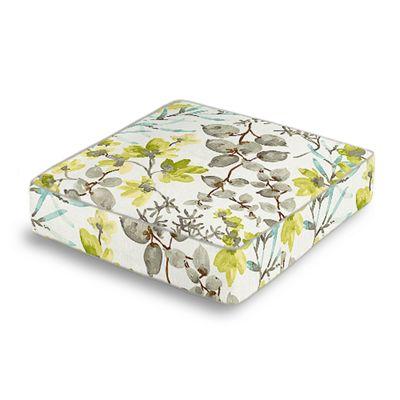 Aqua Blue Watercolor Floral Box Floor Pillow