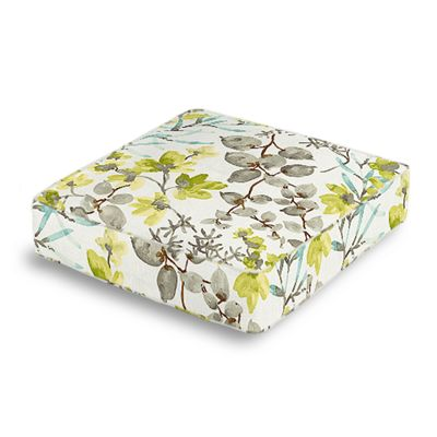 Aqua Blue Watercolor Floral Box Floor Pillow