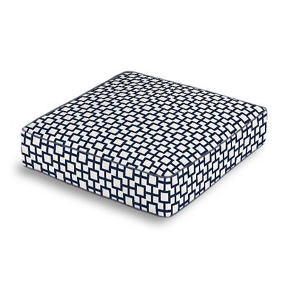Navy Blue Square Trellis Box Floor Pillow