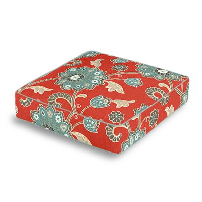 Aqua & Red Floral Box Floor Pillow