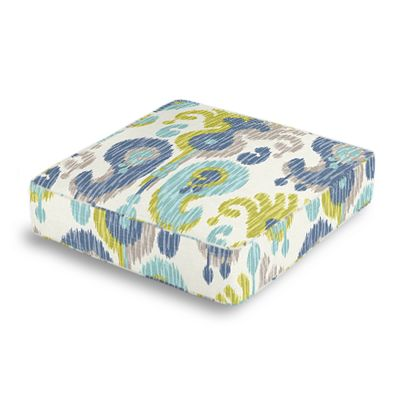 Aqua, Blue & Green Ikat Box Floor Pillow