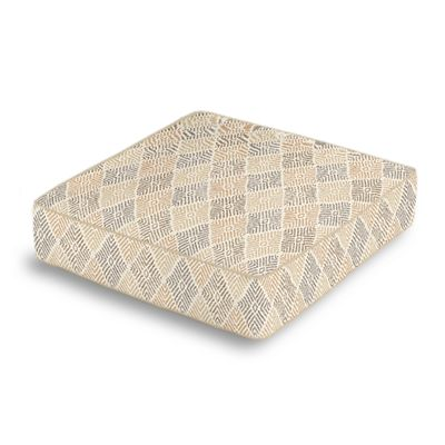 Beige Diamond Block Print Box Floor Pillow
