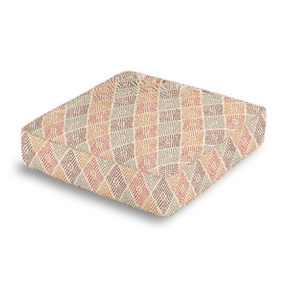 Orange Diamond Block Print Box Floor Pillow