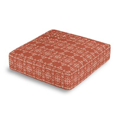 Orange Quatrefoil Block Print Box Floor Pillow