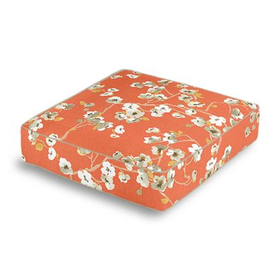 Orange Cherry Blossom Box Floor Pillow