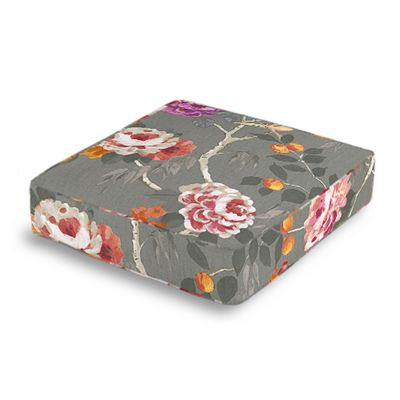 Painterly Pink & Gray Floral Box Floor Pillow