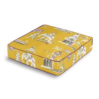 Purple & Yellow Chinoiserie Box Floor Pillow