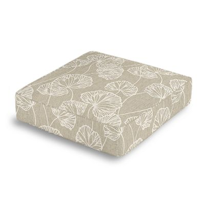 Beige Fan Leaf Box Floor Pillow
