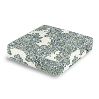 Paisley-Style Aqua Damask Box Floor Pillow
