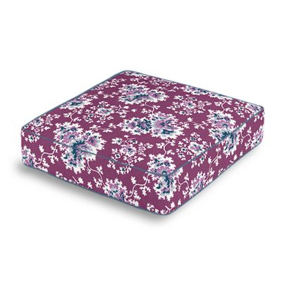Purple & Teal Leaf Box Floor Pillow