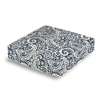 Navy Blue Paisley Box Floor Pillow