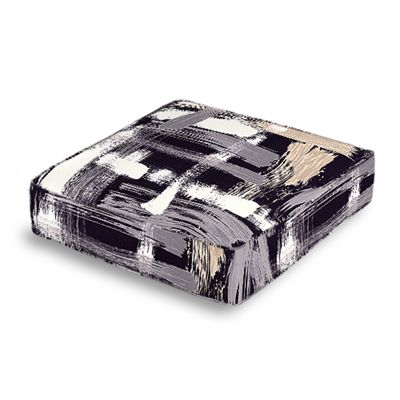 Black & White Brushstrokes Box Floor Pillow