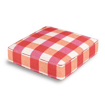 Pink & Orange Buffalo Check Box Floor Pillow