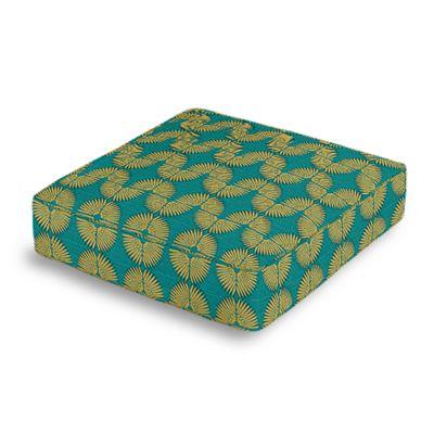 Metallic Gold & Teal Fan Box Floor Pillow