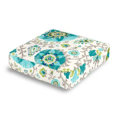 Aqua Blue Suzani Box Floor Pillow