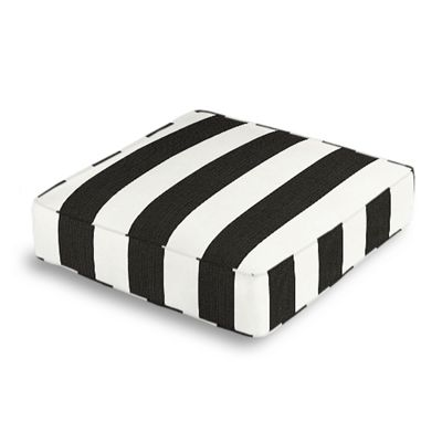 Black & White Awning Stripe Box Floor Pillow