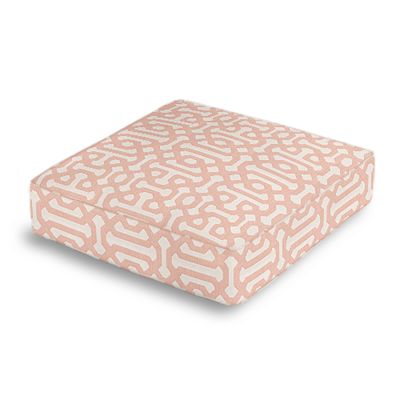 Pale Coral Trellis Box Floor Pillow