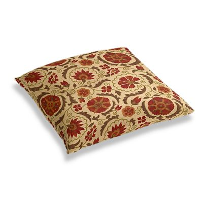 Beige & Red Suzani Floor Pillow