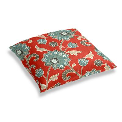 Aqua & Red Floral Floor Pillow
