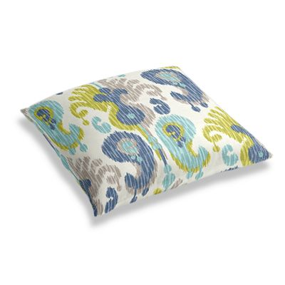 Aqua, Blue & Green Ikat Floor Pillow