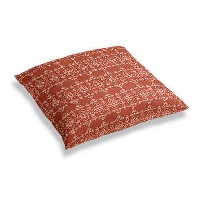 Orange Quatrefoil Block Print Floor Pillow