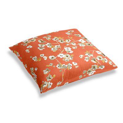 Coral Orange Cherry Blossom Floor Pillow
