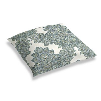 Paisley-Style Aqua Damask Floor Pillow