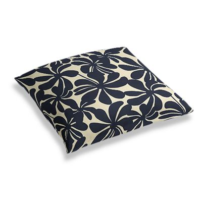 Navy Graphic Floral Floor Pillow