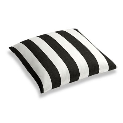 Black & White Awning Stripe Floor Pillow