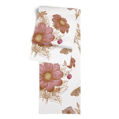 Sketched Pink Floral Table Runner